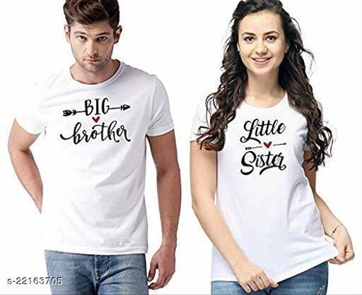 Axxelus Printed Couple BIgBro And LIttleSis T-Shirt Large