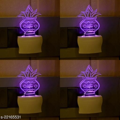 Afast 3D Illusion Effect Pooja Kalash Multi Colour LED Night Lamp , (Pack Of 4)