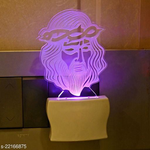 Afast 3D Illusion Jesus Wearing Spiky Crown LED Plug & Play Wall Lamp