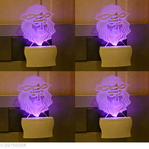 Afast 3D Illusion Jesus Wearing Spiky Crown LED Plug & Play Wall Lamp , (Pack Of 4)