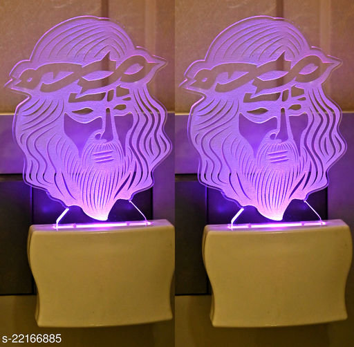 Afast 3D Illusion Jesus Wearing Spiky Crown LED Plug & Play Wall Lamp , (Pack Of 2)