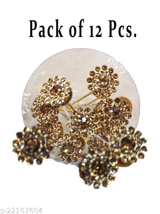 Metal juda pin for Women and Girls Hair Pin Golden(Pack of 12 Pic)