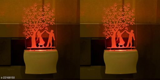 Afast 3D Illusion Effect Dancing Couple Multi Colour LED Night Lamp , (Pack Of 2)