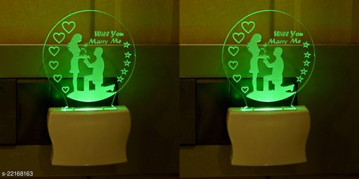 Afast 3D Illusion Effect Will You Marry Me Couple Multi Colour LED Night Lamp , (Pack Of 2)