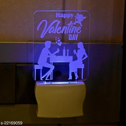 Afast 3D Illusion Effect Happy Valentine Day Multi Colour LED Night Lamp