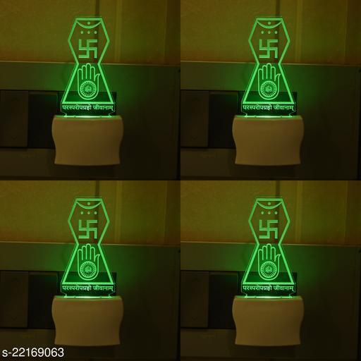 Afast 3D Illusion Effect Jain Mantra Multi Colour LED Night Lamp , (Pack Of 4)