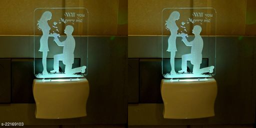 Afast 3D Illusion Effect Cute Couple Multi Colour LED Night Lamp , (Pack Of 2)