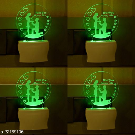 Afast 3D Illusion Effect Will You Marry Me Couple Multi Colour LED Night Lamp , (Pack Of 4)