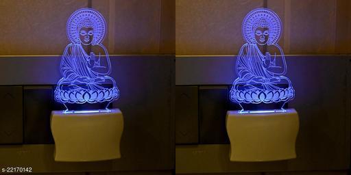Afast 3D Illusion Effect Budha Bagwan Multi Colour LED Night Lamp , (Pack Of 2)