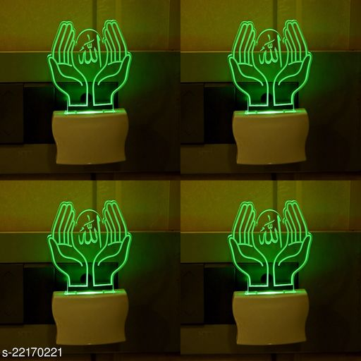 Afast 3D Illusion Effect Pray Alla Multi Colour LED Night Lamp , (Pack Of 4)