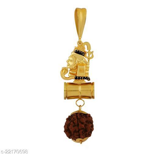 SILVER SHINE Gold Plated Classic designer Pendant Locket Rudrakash Shiva Bholenath Mahadev Pendant Jewellers For Man And Boy