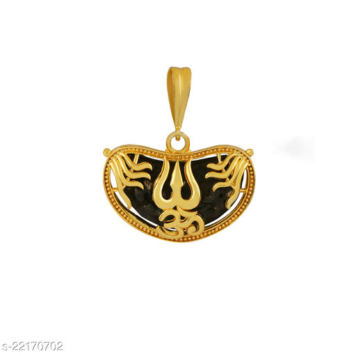 SILVER SHINE Gold Plated Classic designer Pendant Locket OM Trishul Pendant Jewellers For Man And Boy