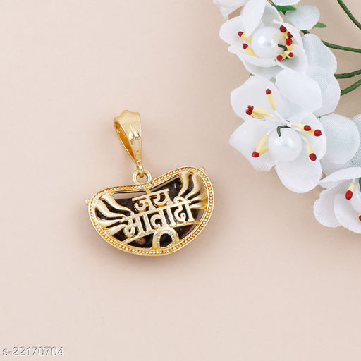 SILVER SHINE Gold Plated Classic designer Pendant Locket Jai Mata Di  Pendant  Jewellers For Man And Boy