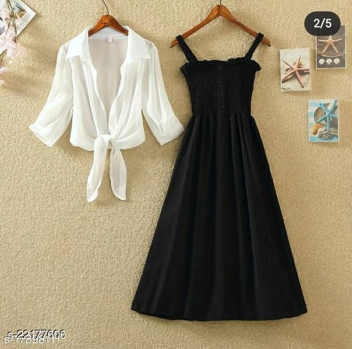 Women Fit and Flare Black Dress
