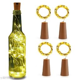20 LED Wine Bottle Cork Lights, Copper Wire String Lights, 2 Meter Battery Operated Fairy Lights, Wine Bottle DIY, Christmas, Wedding Party (Warm White, Pack of 4)