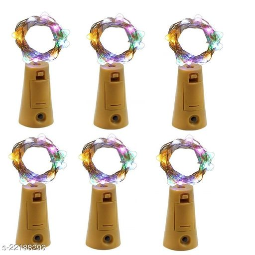 20 LED Wine Bottle Cork Lights, Copper Wire String Lights, 2 Meter Battery Operated Fairy Lights, Wine Bottle DIY, Christmas, Wedding Party (Multicolor, Pack of 6)