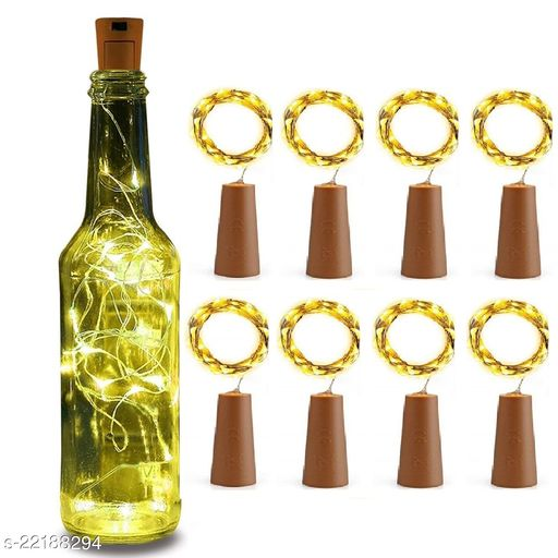 20 LED Wine Bottle Cork Lights, Copper Wire String Lights, 2 Meter Battery Operated Fairy Lights, Wine Bottle DIY, Christmas, Wedding Party (Warm White, Pack of 8)