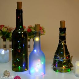 20 LED Wine Bottle Cork Lights, Copper Wire String Lights, 2 Meter Battery Operated Fairy Lights, Wine Bottle DIY, Christmas, Wedding Party (Multicolor, Pack of 3)