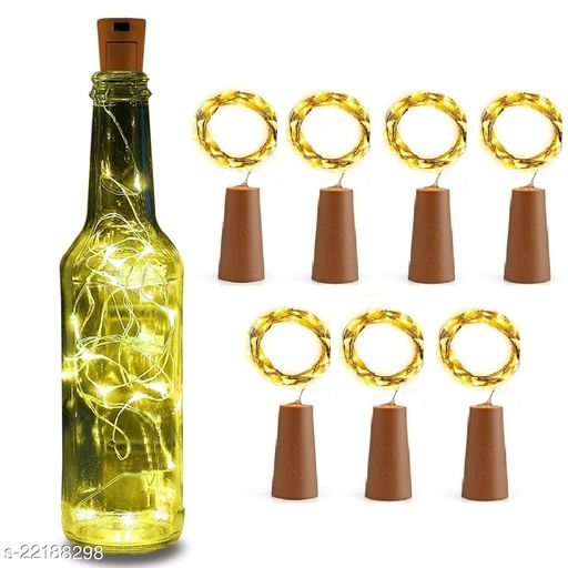 20 LED Wine Bottle Cork Lights, Copper Wire String Lights, 2 Meter Battery Operated Fairy Lights, Wine Bottle DIY, Christmas, Wedding Party (Warm White, Pack of 7)