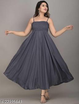 Zamaisha Grey Rayon A-Line Bobbin Maxi Dress for Women