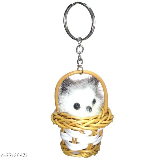 Cat in Basket Keychain for Boys and Girls - Pack of 1 (Black)