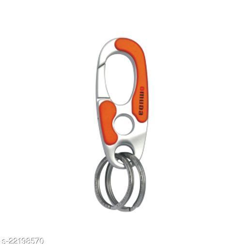 Omuda 3752 Red Double Rings Metal Keychain Keyring | Key Chain for Car Bike Keys | for Men Women Boys Girls Key Chain