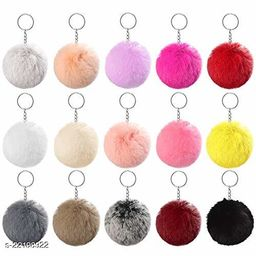 Pompom Soft Flulffy Fur Keychain & Key Ring for Girls Multicolor - Yellow