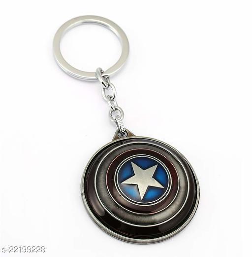 Spinner Cum Captain America Shield Avengers Keychain For Superhero Silver Metal for Car Bike