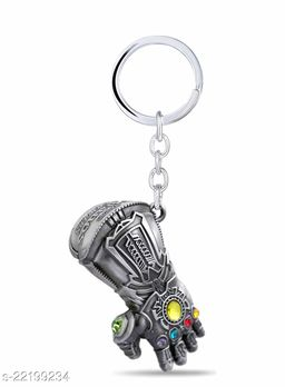 Thanos Hand Infinity Stone Gauntlet Avengers Villain Superhero Silver Metal Keychain