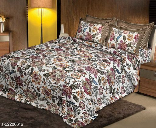 Elegant Fancy Comfort Jaipuri Traditional Print 180 TC King Size Cotton Bedsheet For Duble bed with 2 Pillow Covers