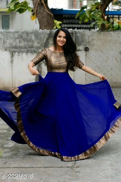 Full Jacqued Trendy Women's Long Gown with Georgette  Fabric & Lace
