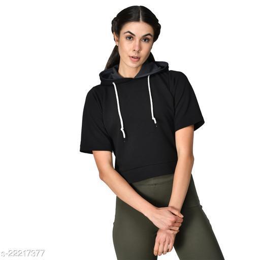 GENSHI Women Sports Solid Hooded Crop Sweatshirt