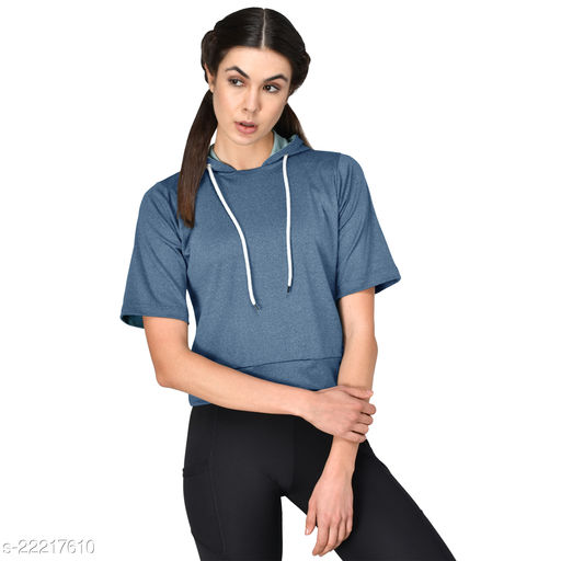 GENSHI  Sports Solid Hooded Street Crop Sweatshirt