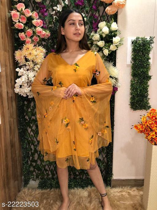 Flared Sleeves Floral Embroidered V-Neck Dress