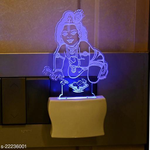 Afast 3D Illusion Natkhat Kanha LED Plug & Play Wall Lamp
