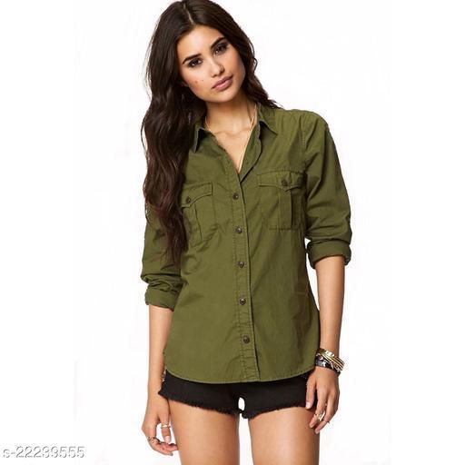 Syolo Women Long sleeves Double Pocket casual shirt