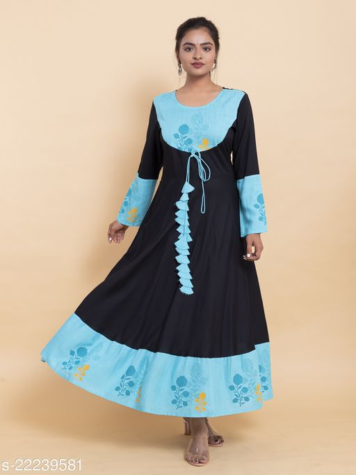 Rayon printed women anarkali  Maha Price Drop Sale