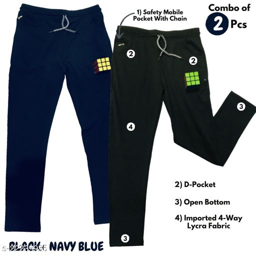 Mens Black and Blue Color Fully Comfort 4 way Lycra Track Combo of 2 (Please Refer Size chart in second Image for Smart Purchase