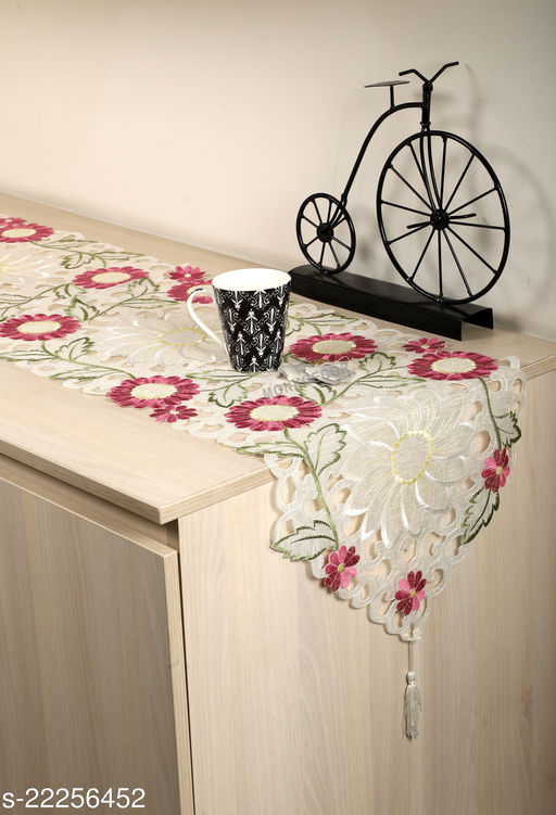 Sunflower Design Dining Table Runner(Size-70x15 Inches.)Pink Color