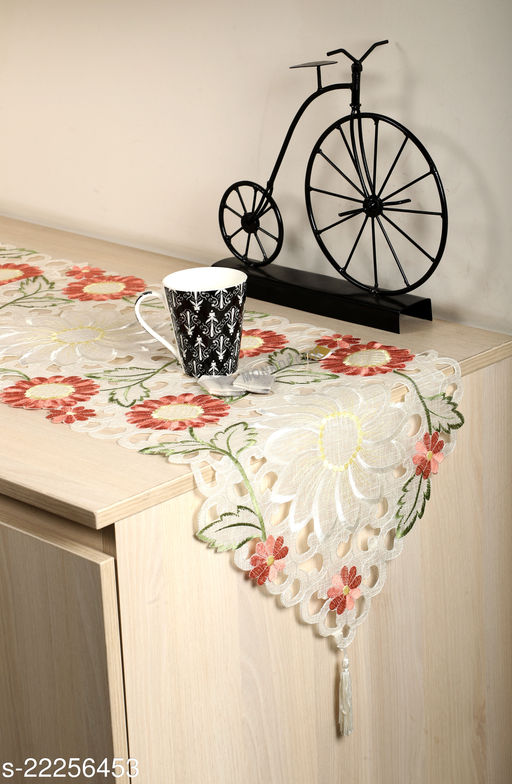 Sunflower Design Dining Table Runner(Size-70x15 Inches.)Peach Color