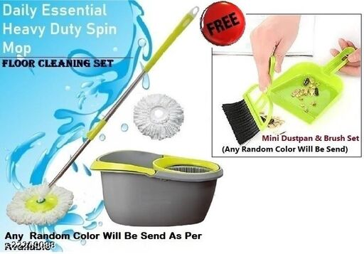 360° MAGIC SPIN PLASTIC BUCKET MOP WITHOUT WHEELS (STANDARD EASY CLEAN, PONCHA BALTI), ESSENTIAL FANCY FLOOR SCRUBBER WITH MICROFIBER 2 REFILL + FREE WITH MINI DUSTPAN WITH BRUSH  (Random Color)