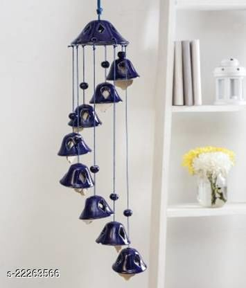 Yourcull Blue Color Wind Chime With 8 Bells Ceramic Windchime