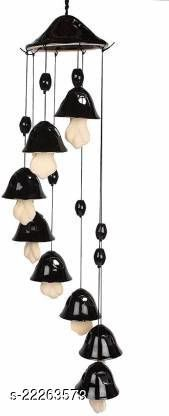 Yourcull Handcrafted 8 Bells Ceramic Windchime Black Color Ceramic Windchime