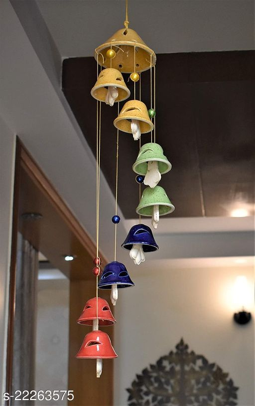 Yourcull Ceramic Multi Wind Chime Bell Shape Positive Energy Wind Chimes for Balcony Bedroom Garden Outdoor with Great Melodious Sound