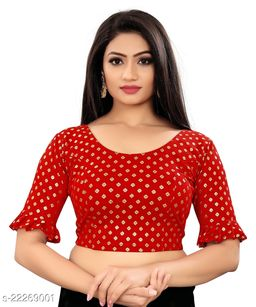 Latest Foli printed Fancy stretchable blouse with three quarter Frill sleeve