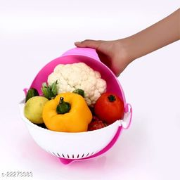Multifunctional Washing Vegetables and Fruit Draining Basket Strainer, Fruit Basket With Handle for Dining Table