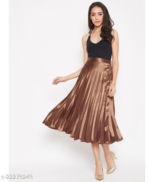 Brown Pleated Satin Skirt