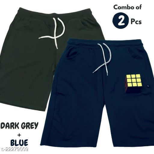 Grey and Blue Color Lycra Plain Night Wear Shorts For Men (Combo of 2, Refer Size Charts in 2nd Photo For Smart Purchase)