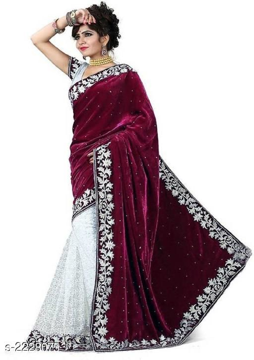 Sarees Attractive Women's Velvet Embroidered Saree  *Fabric* Saree - Velvet, Blouse - Velvet 