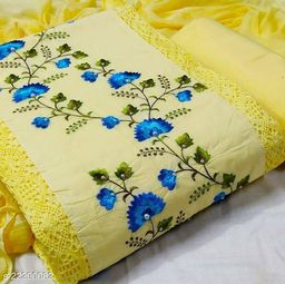 PC Cotton with Embroidery Work with Hand Work Dress Material